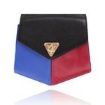 Bolsa Amers Couro Preto, Azul e vermelho Geométrica