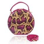 Bolsa Artball Couro Pink Snake Verniz Transversal