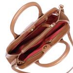 Bolsa Marley de Couro Camel de Mão com Alça Transversal