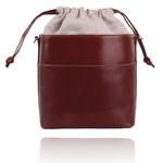 Bolsa Mondrian Couro Marrom Bucket Bag