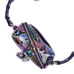 Bolsa Pantera de Couro Marinho com Estampa Snake Verniz Colorido