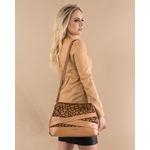 Bolsa Pumba de Couro Camel / Girafa com Detalhe em Tiras