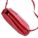 Bolsa Pumba de Couro Vermelho com Tramado e Alça Transversal