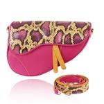 Bolsa Saddle Bag Parker Snake Pink com Alça Transversal