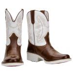 Bota Country Texana Com Solado Branco