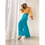 Calça Linho Pantalona Azul