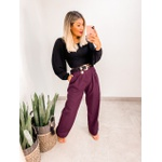 Calça Pantalona Linho Uva