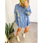 Camisa Over Bordada Azul