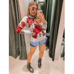 Tricot Flor Cinza