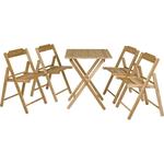Conjunto De 1 Mesa E 4 Cadeiras Beer Envernizada Incolor Teca 10630/066 - Tramontina