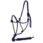 Cabresto 7 Nós p/ Cavalo em Nylon c/ Guia Azul Marinho - Cavalaria