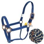 Cabresto de Nylon Azul c/ Cabo - Mustang