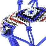 Cabresto de corda Azul com focinheira em miçangas e guia Boots Horse