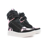 Tênis Sneaker Cano Alto Preto e Camuflado Rosa