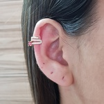 Piercing Fake Zircônia Dourado Pink