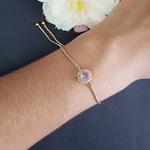 Pulseira Gravatinha Pedra Fusion Dourado Rosa