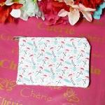 Porta Moeda Flamingos Rosas Folhas Azuis