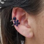Piercing Fake Zircônia Flor Grafite Azul Marinho