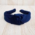 Tiara de Nó Veludo Azul Marinho