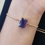 Pulseira Gravatinha Pedra Fusion Dourado Lilás