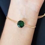 Pulseira Gravatinha Pedra Fusion Dourado Verde