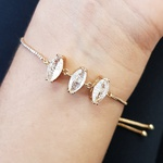 Pulseira Gravatinha Pedra Fusion Navete Dourado Branco