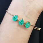 Pulseira Gravatinha Pedra Fusion Gota Dourado Verde