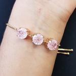 Pulseira Gravatinha Pedra Fusion Círculos Dourado Rosa