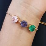Pulseira Gravatinha Pedra Fusion Círculos Dourado Rosa Lilás Verde