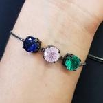 Pulseira Gravatinha Pedra Fusion Círculos Grafite Verde Rosa Azul Marinho