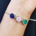 Pulseira Gravatinha Pedra Fusion Círculos Prata Azul Marinho Rosa Verde