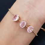 Pulseira Gravatinha Pedra Fusion Oval Dourado Rosa