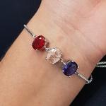 Pulseira Gravatinha Pedra Fusion Oval Prata Lilás Rosê Vermelho
