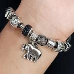 Pulseira Pandora Elefante Prata Preto