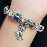 Pulseira Pandora Coruja Prata Azul