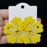 Brinco Folheado Flor Do Verão Esmaltado Dourado Amarelo