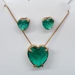 Conjunto Zircônia Coração Dourado Verde