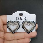 Brinco Ponteira Coração Prata Azul Marinho