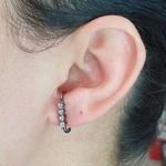 Brinco Ear Hook Semi Joia Ródio Negro