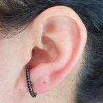 Brinco Ear Hook Semi Joia Ródio Negro Preto