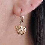 Mini Argola Folheada Dourada Coração Duplo