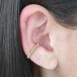 Piercing Fake Folheado Dourado Retângulo