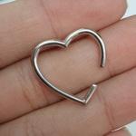 Piercing Fake Folheado Prata Coração