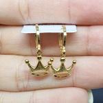 Mini Argola Folheada Dourada Coroa
