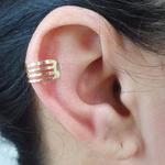 Piercing Fake Folheado Vazado Dourado