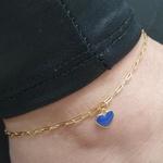 Tornozeleira Folheada Dourada Coração Azul