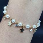 Pulseira Folheada Dourada Pérolas e Estrelas