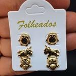 Kit De Brincos Folheados Dourado Unicórnio