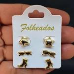 Kit De Brincos Folheados Dourado óculos
