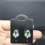Brinco Folheado Zircônia Prata Verde